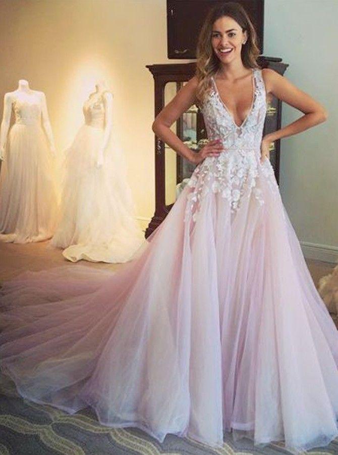 V-neck prom dresses,lace prom dresses,pink wedding dresses ...