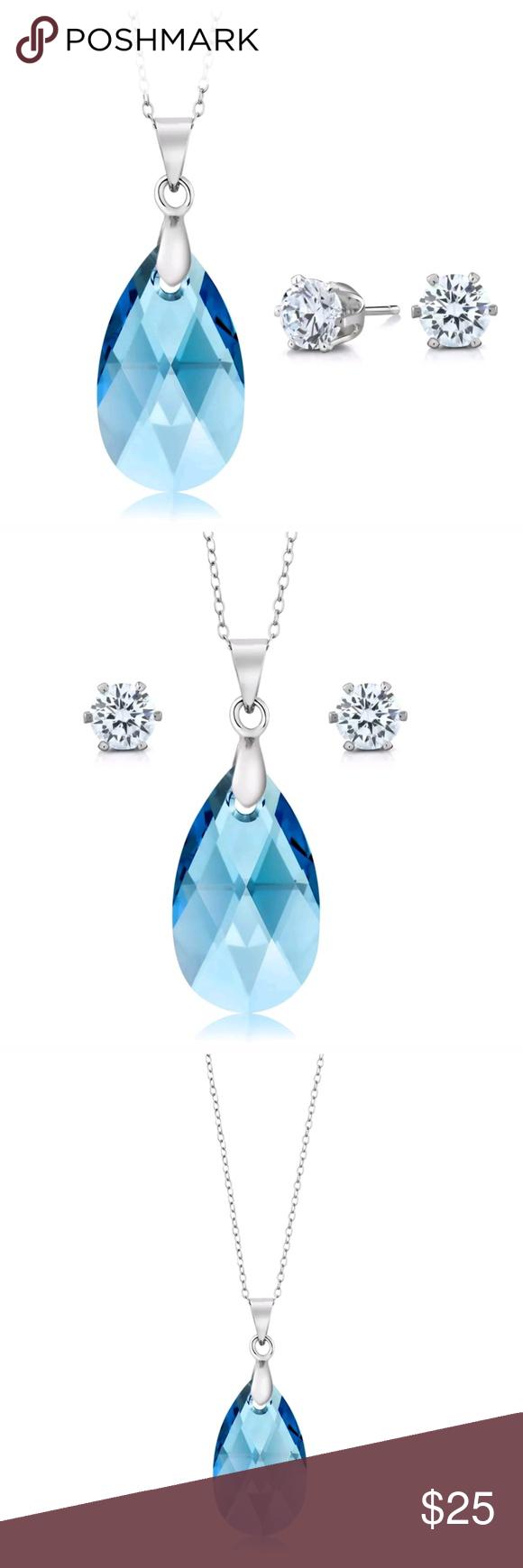 Nirano collection aqua tear drop pendant set created with swarovski