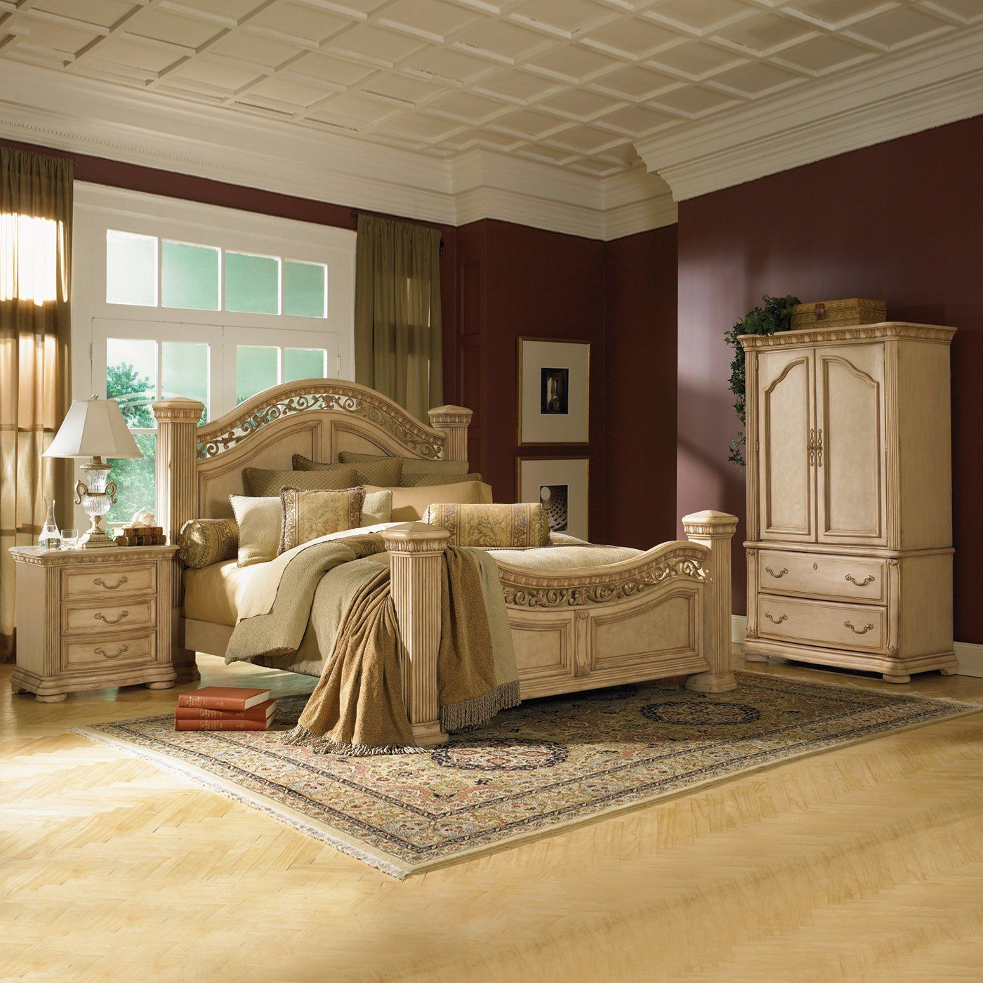 Meridian Regal Bedroom Set in Cherry (Queen, King)