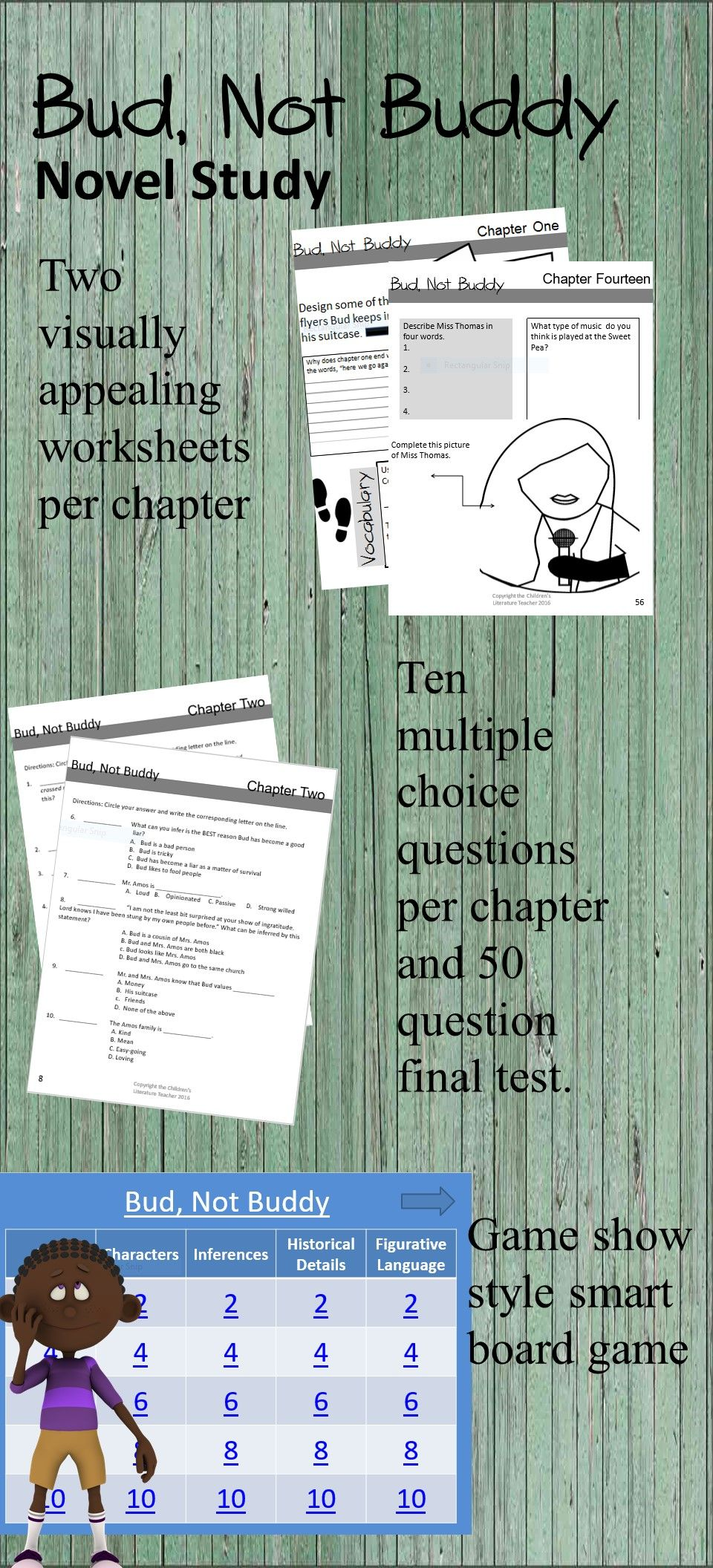 Bud Not Buddy Novel Study Bundle Chapter Quizzes Final Assessment