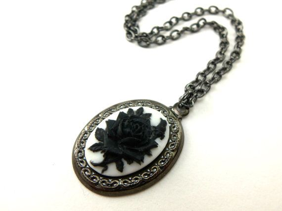 Black rose pendant cameo necklace black and white jewelry gothic black rose pendant cameo necklace black and white by jalycme aloadofball