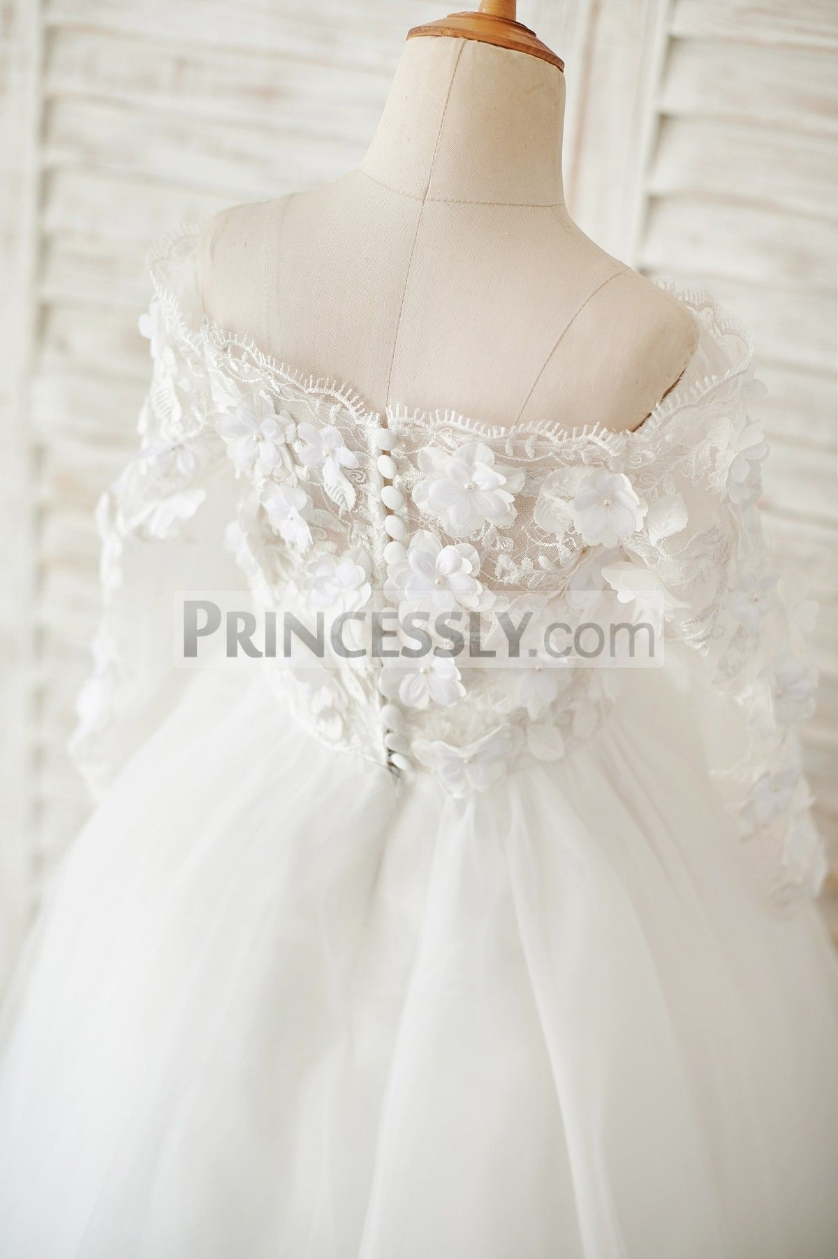 Ivory Lace Tulle Off Shoulder Long Sleeves Wedding Flower ...