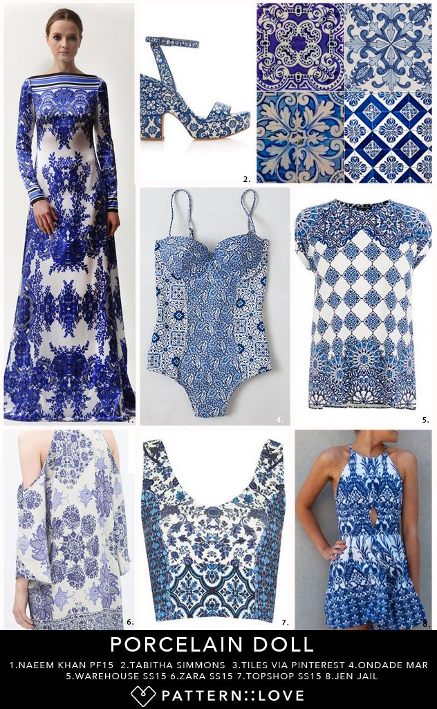 pattern mood board inspired by tile and porcelain patterns blue