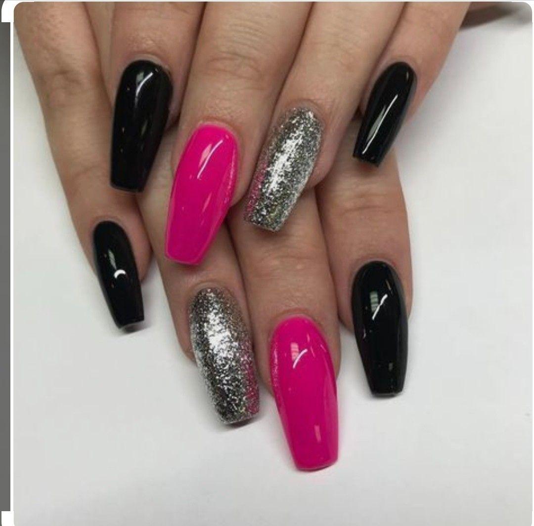 Pin By Princess On Nails Pink Black Nails Nail Designs Silver Nails
