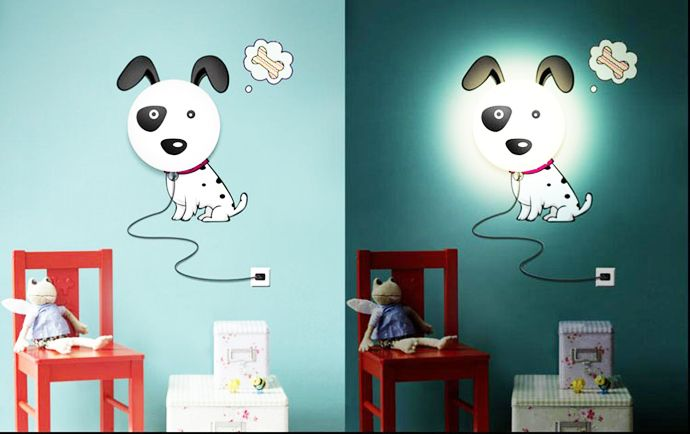 DIY Lamps With Sitckers: Cartoons Animate Your Kids Room! DesignRulz.com