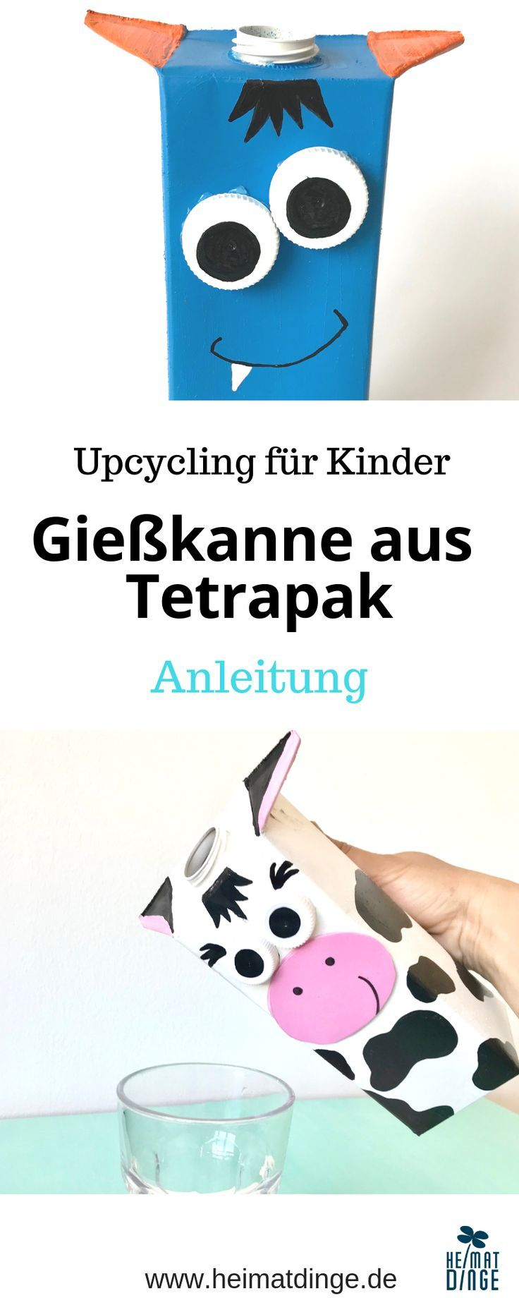 Gießkanne für Kinder: Kuh Elsa aus Tetrapak selber machen - #gartenupcycling