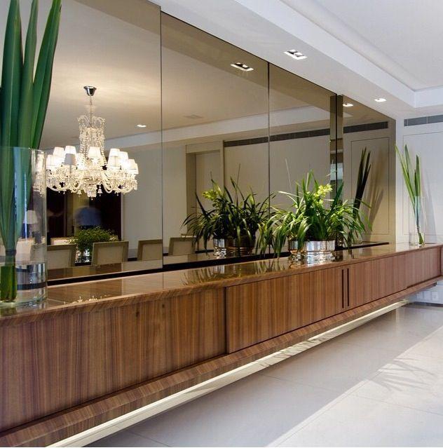 Armario Sala ~ Aparador suspenso e espelho bronze Hall de Entrada Corredor Pinterest Espelho bronze