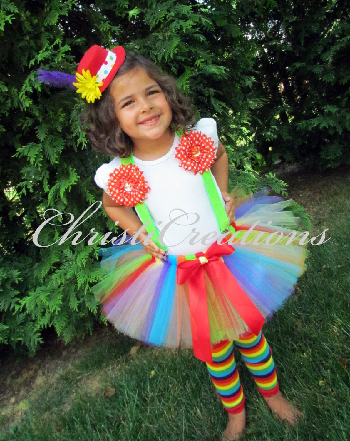 Girl Clown Costume - Halloween Tutu - Hat, Tutu, Suspenders and ...