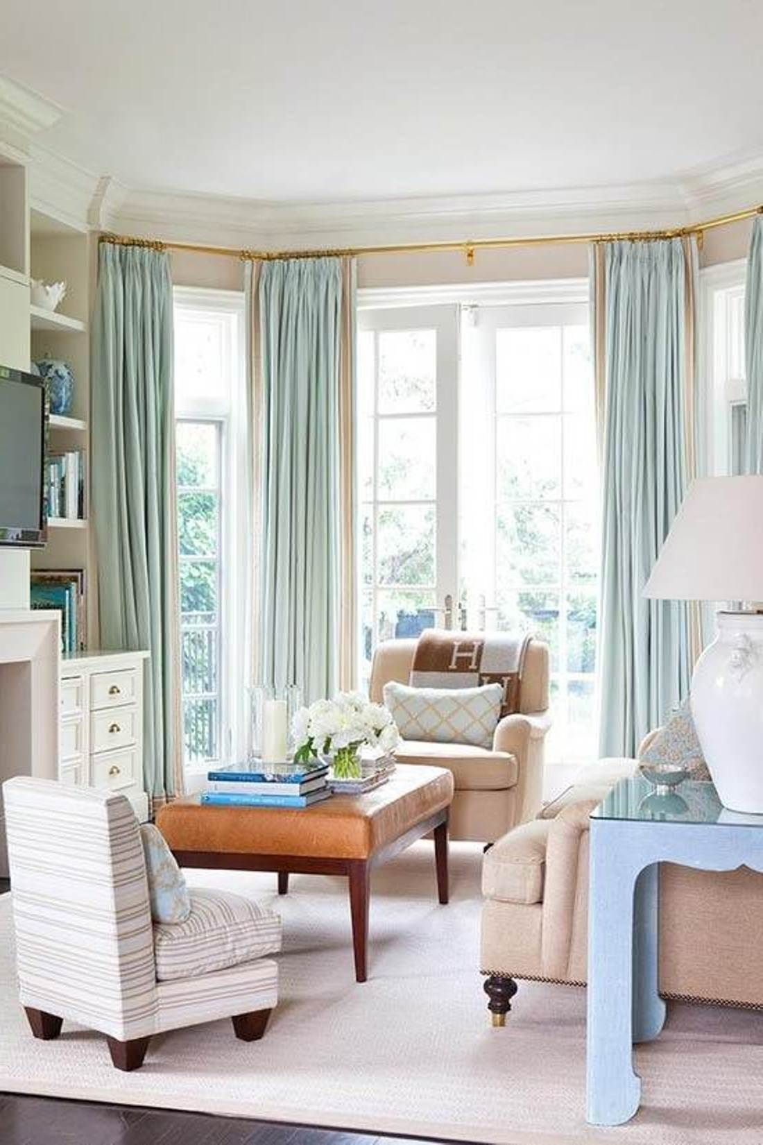 Curtains Bay Window Dressing : Adorable Bay Window