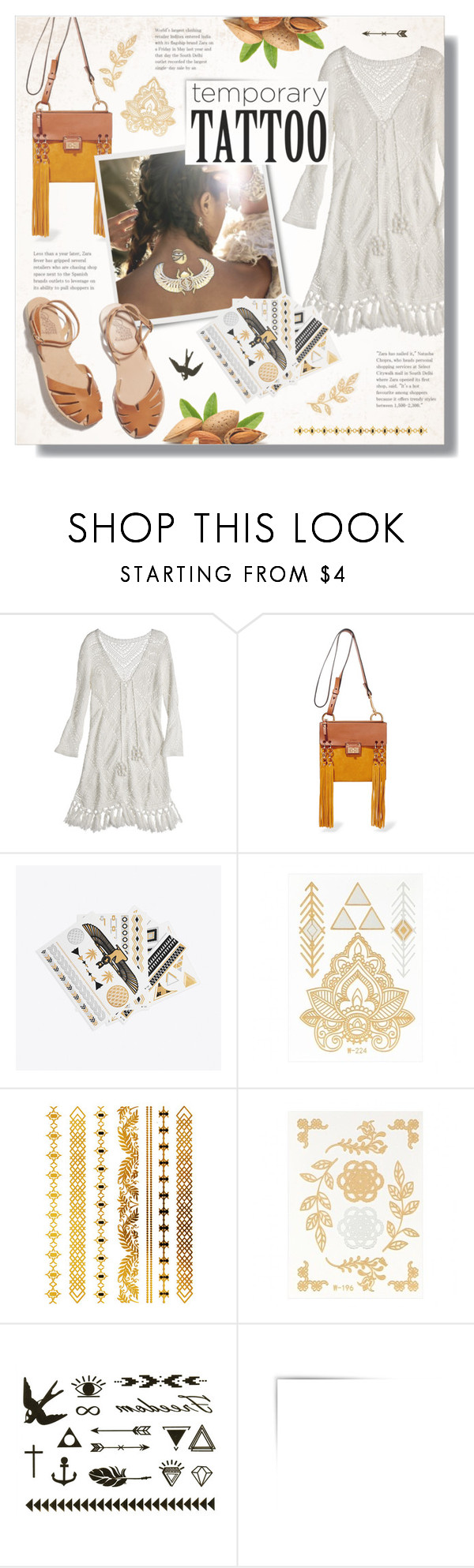 """Today's Tattoos"" by alexandrazeres ❤ liked on Polyvore featuring beauty, Calypso St. Barth, Chloé, Ancient Greek Sandals, fashionset, beautyset, temporarytattoo and flashtattoo"