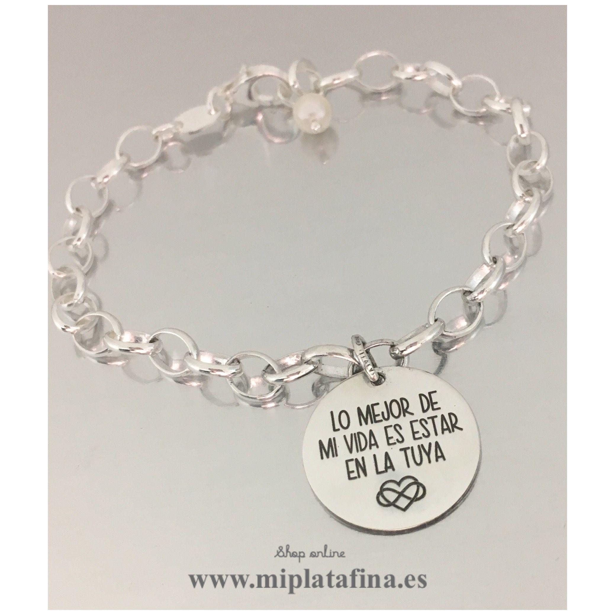 4980f682c06c Pulsera plata de ley de medalla grabada con mensaje