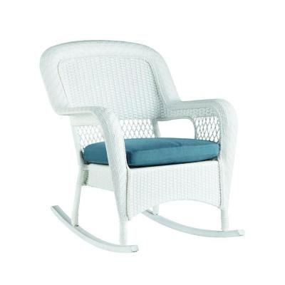 Martha Stewart Living Charlottetown White All Weather Wicker Patio Rocking  Chair With Washed Blue Cushion