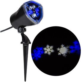 Gemmy Snowflurry Lightshow Swirling White And Blue Led Snowflakes Christmas Indoor Outdoor Spotlight Projector Blue Christmas Lights Christmas Lights Snowflake Lights