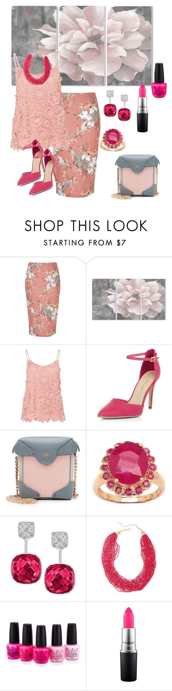 """""""Pink, I Think🌸 www.polyvore.com/la_mode/group.show?id=199380"""" by parnett ❤ liked on Polyvore featuring River Island, Stupell, Hallhuber, New Look, MANU Atelier, Malaika, Swarovski, Mixit, OPI and MAC Cosmetics"""