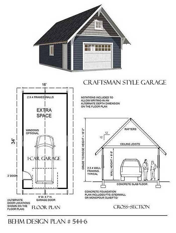 1 Car Craftsman Style Garage Plan By Behm 544-6 – 16′x34′Behm Garage Plans #garageplans