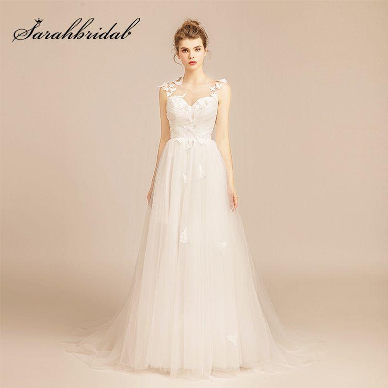 2019 Simple White Beach Wedding Dresses Long Lace Applique Tulle