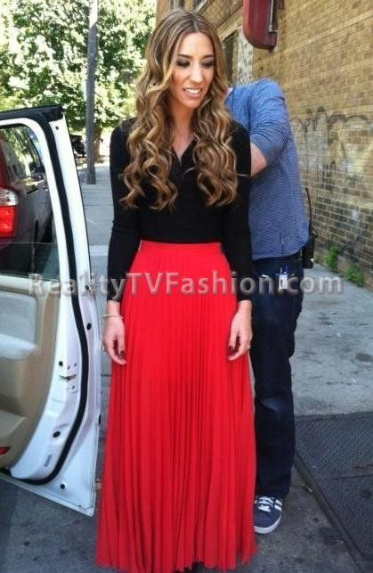 Jen The Pen Red Pleated Maxi Skirt on Love & Hip Hop...@Ceci ...