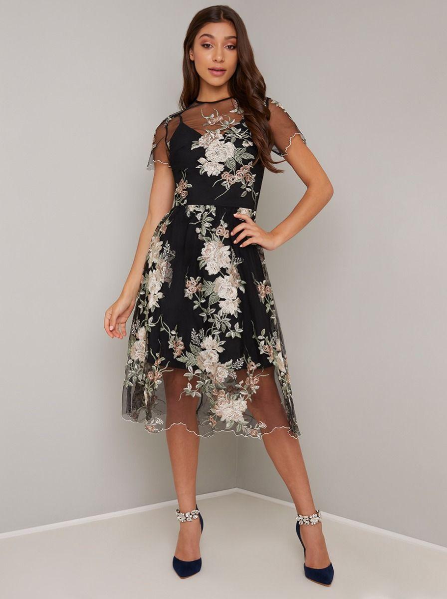 Floral Lace Overlay Sheer Mini Dip Hem Dress in Pink