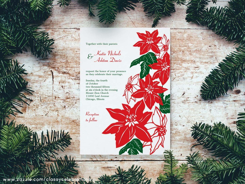 Christmas wedding invites / poinsettia wedding invitations / Red ...