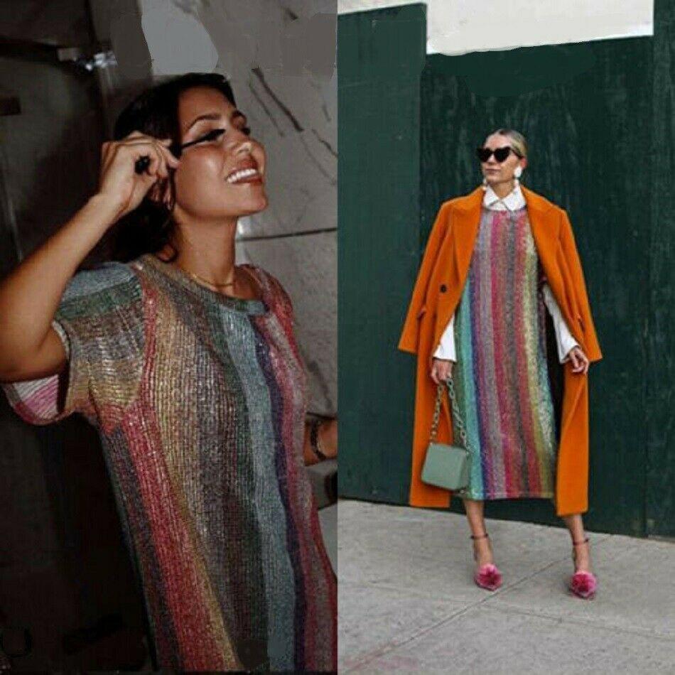 8b1f4bdf426 NWT ZARA Long Sequin Dress Multicolor Tunic SIZE S Ref.2488/014 #ZARA # TunicDress #PartyCocktail
