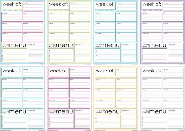 Free Printable Weekly Menu Planner Artsy fartsy, Artsy and Organizing - Daily Calendar Printable