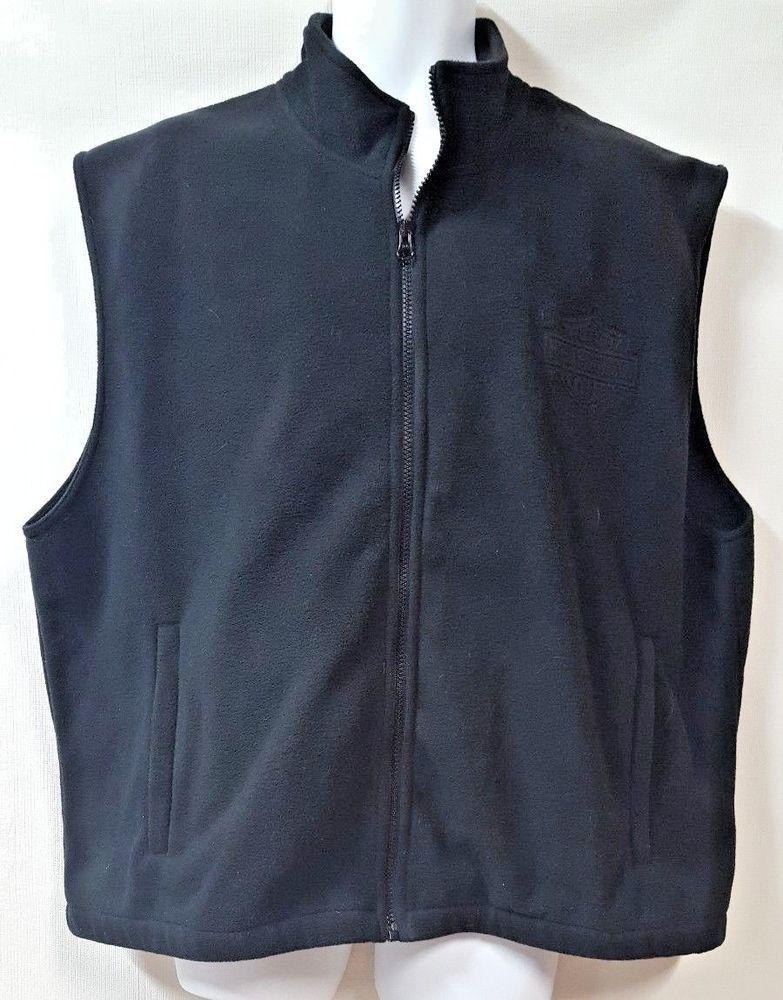 af21136e8ac Harley Davidson Black Fleece Vest Size 2XL XXL Sleeveless Zipper Pockets   HarleyDavidson  Vest