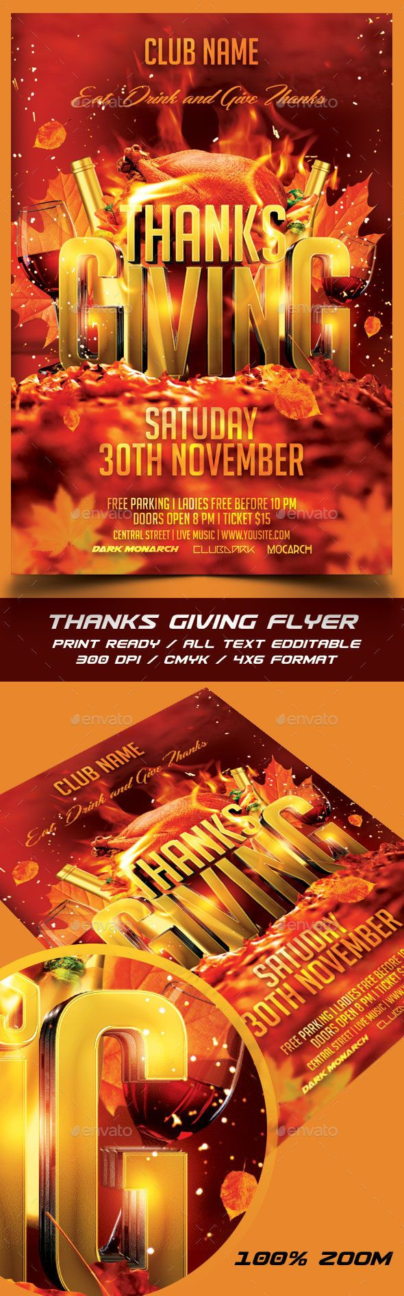 Thanksgiving Party Flyer Template Thanksgiving Parties Flyer