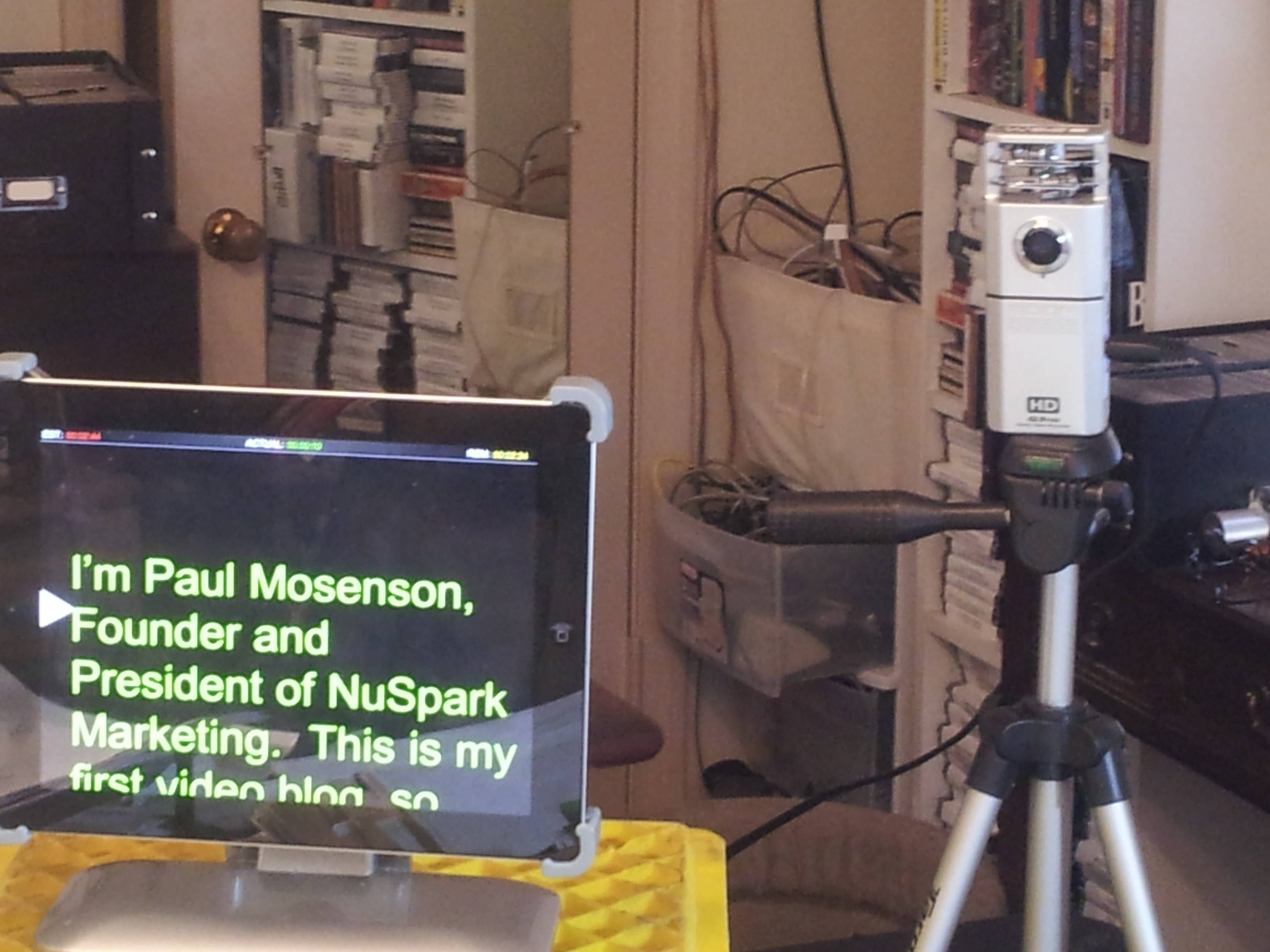 Shooting a video with Zoom digital camera and teleprompter