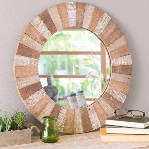 Espejo redondo con marco de madera d 60 cm kari for Espejo redondo con marco