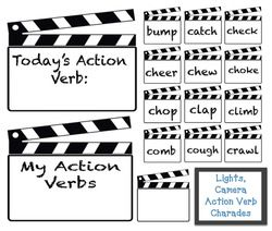 charades in the classroom, verb games, verb activities