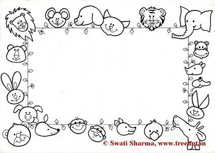 animals frame coloring page craft pinterest art therapy kids