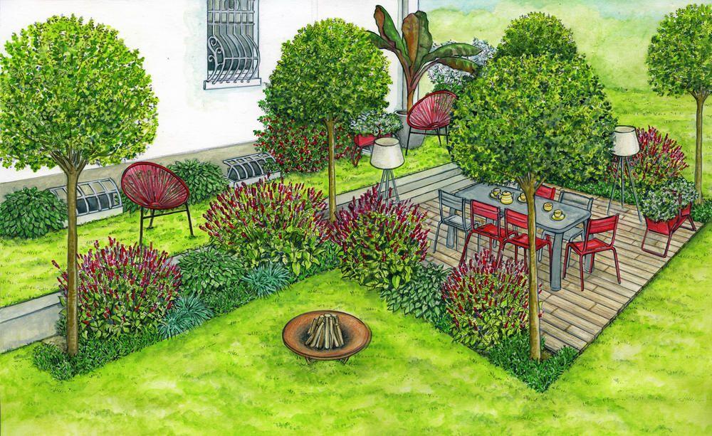 Die Terrasse Als Herzstuck Fallt Mit Ihren Stilvollen Sitzmobeln In Rot Und Grau Schnell Ins Auge Garten Gartengestaltung Moderne Landschaftsgestaltung