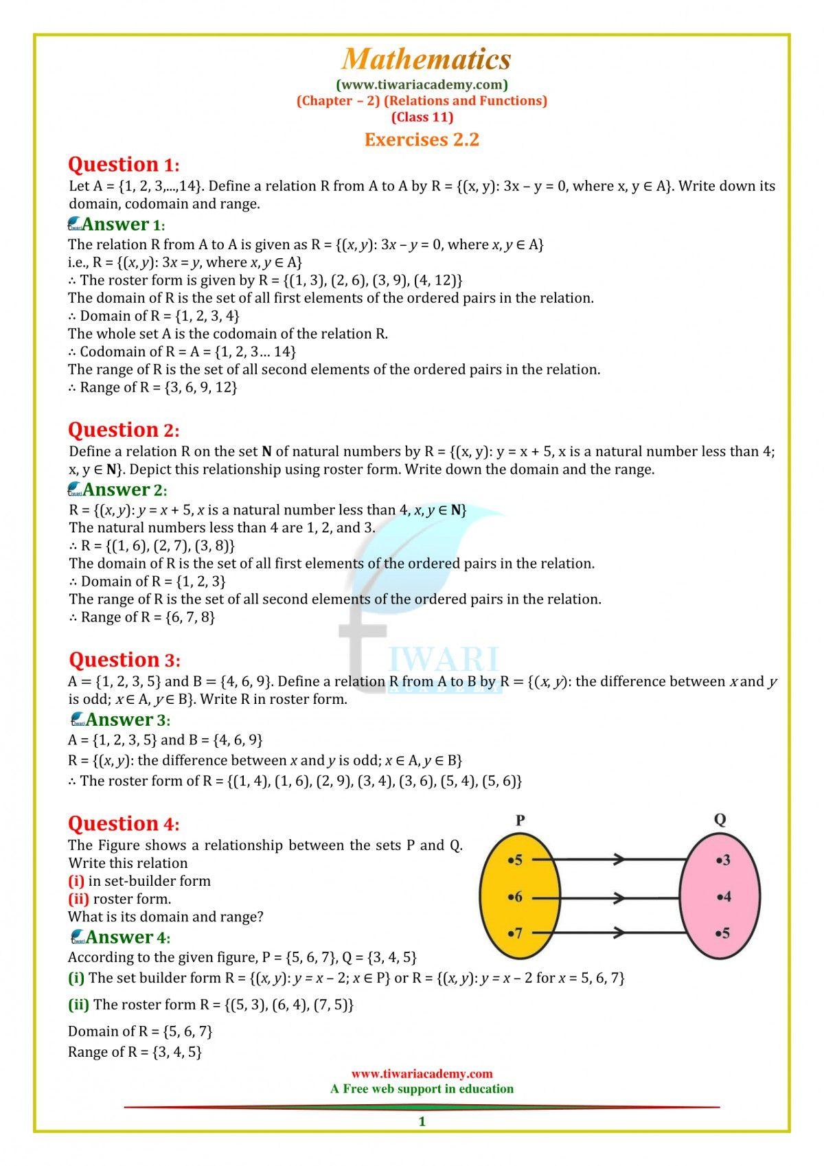 Https Www Tiwariacademy Com Ncert Solutions Ncert Solutions 11 Maths Chapter 2 Functions Math Math Solutions [ 1698 x 1200 Pixel ]