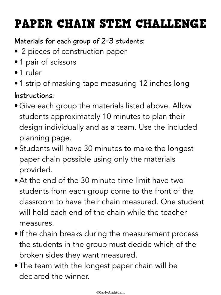 free paper chain stem activity camp game ideas stem challenges stem activities classroom. Black Bedroom Furniture Sets. Home Design Ideas