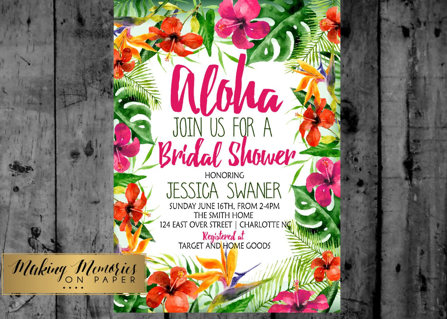 design printable invitation cards online free%0A Hawaiian luau watercolor baby shower  bridal shower  couples shower   tropical party Printable Invitation