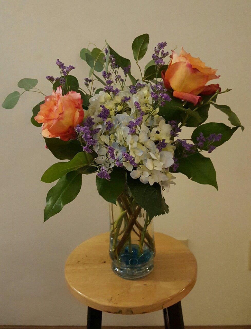 Flower Arrangement With Free Spirit Roses Hydrangea Limonium