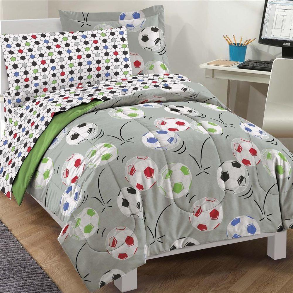 7 Pc Kids Soccer Comforter Set FULL Size Bed In A Bag Boys Bedding Sports