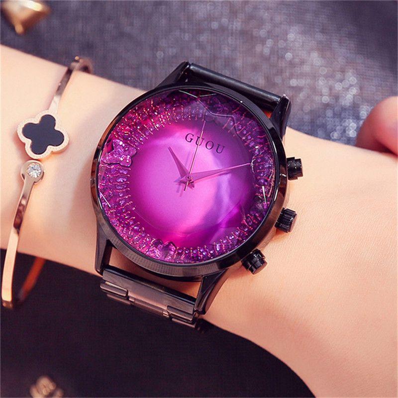 97cf4c71cef GUOU Grande Mostrador do Relógio Feminino 2017 Luxo Marca Rosa de Ouro Mulheres  Pulseira de Relógio de Moda Senhoras Vestido de relógio de Pulso zegarki ...
