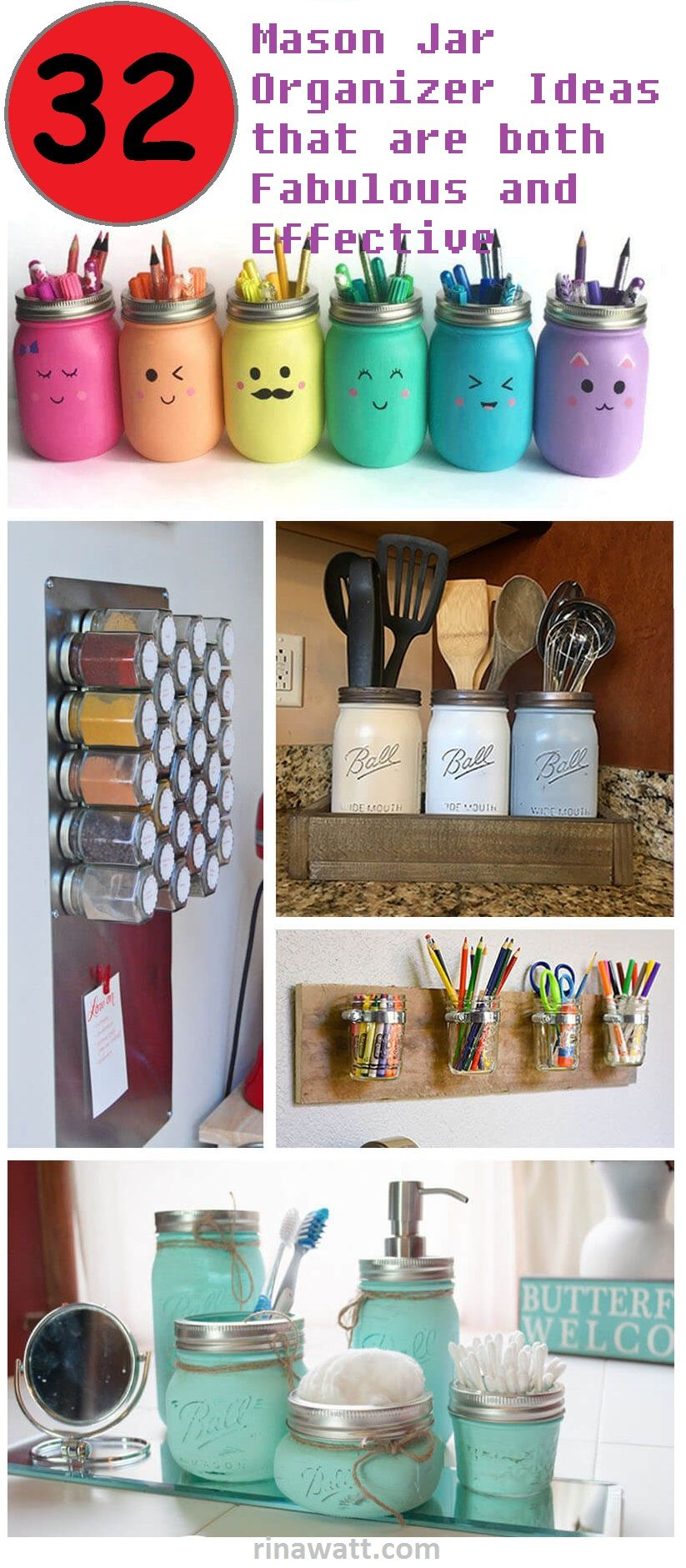 32 Creative Mason Jar Organizer Ideas To Save Space In A Charming Way Mason Jar Organization Mason Jar Diy Mason Jar Crafts Diy