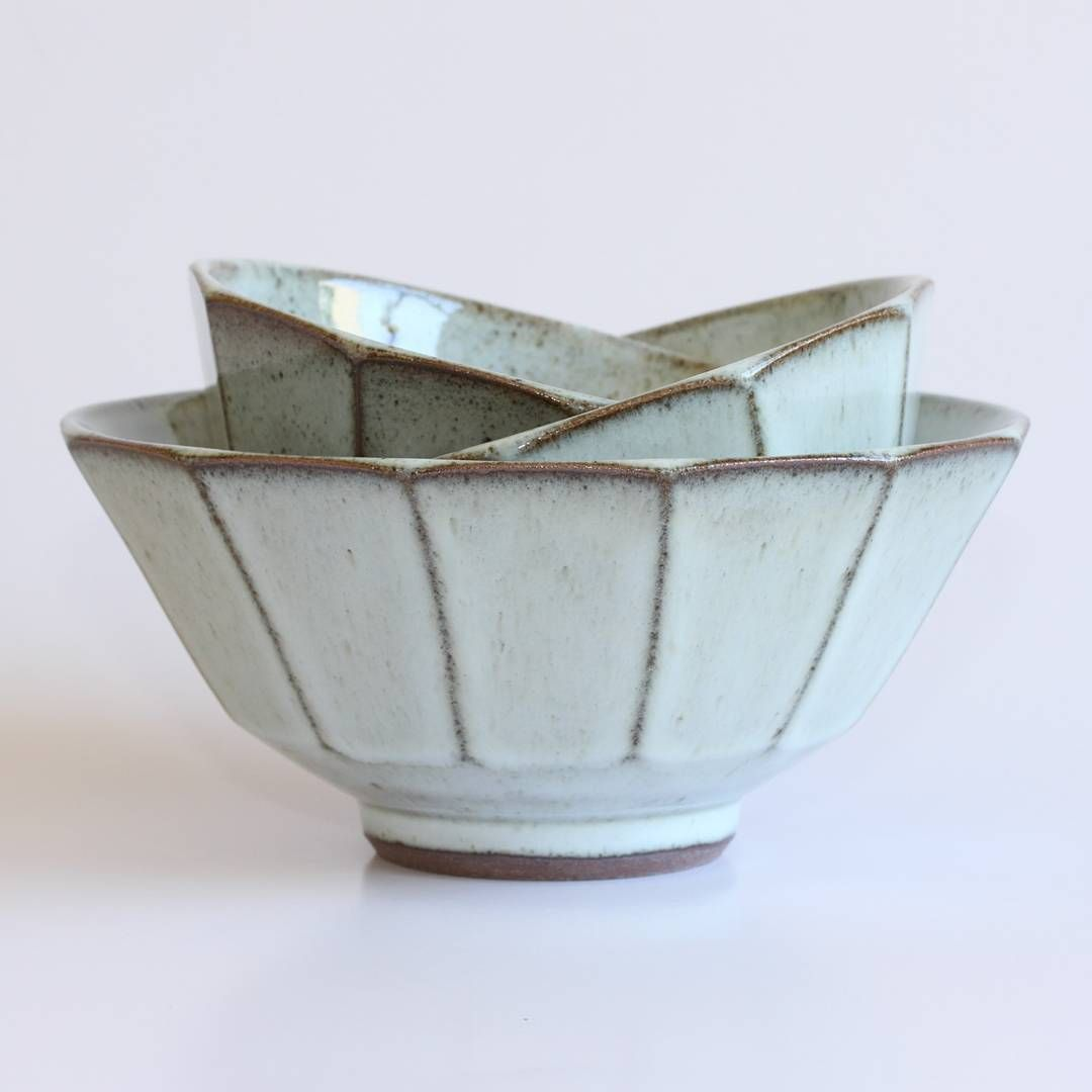 Faceted Stoneware Bowls With A Nuka Type Glaze Made With Fireplace Ash From My Last Firing Faceted Bowls Tableware Ceramic Ceramic Art Ceramics Pottery Bowls