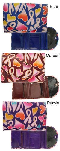 Ribbons & Hearts Cruelty-Free Leather Wallet at The Breast Cancer Site