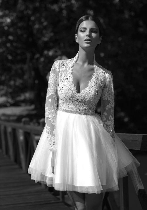 Click to buy fashion design beaded sheer lace tulle long sleeve fabric directly from china dress right dress suppliers ball gowns v neck full long sleeve wedding gown dresses unique sexy short wedding dress 2014 junglespirit Choice Image