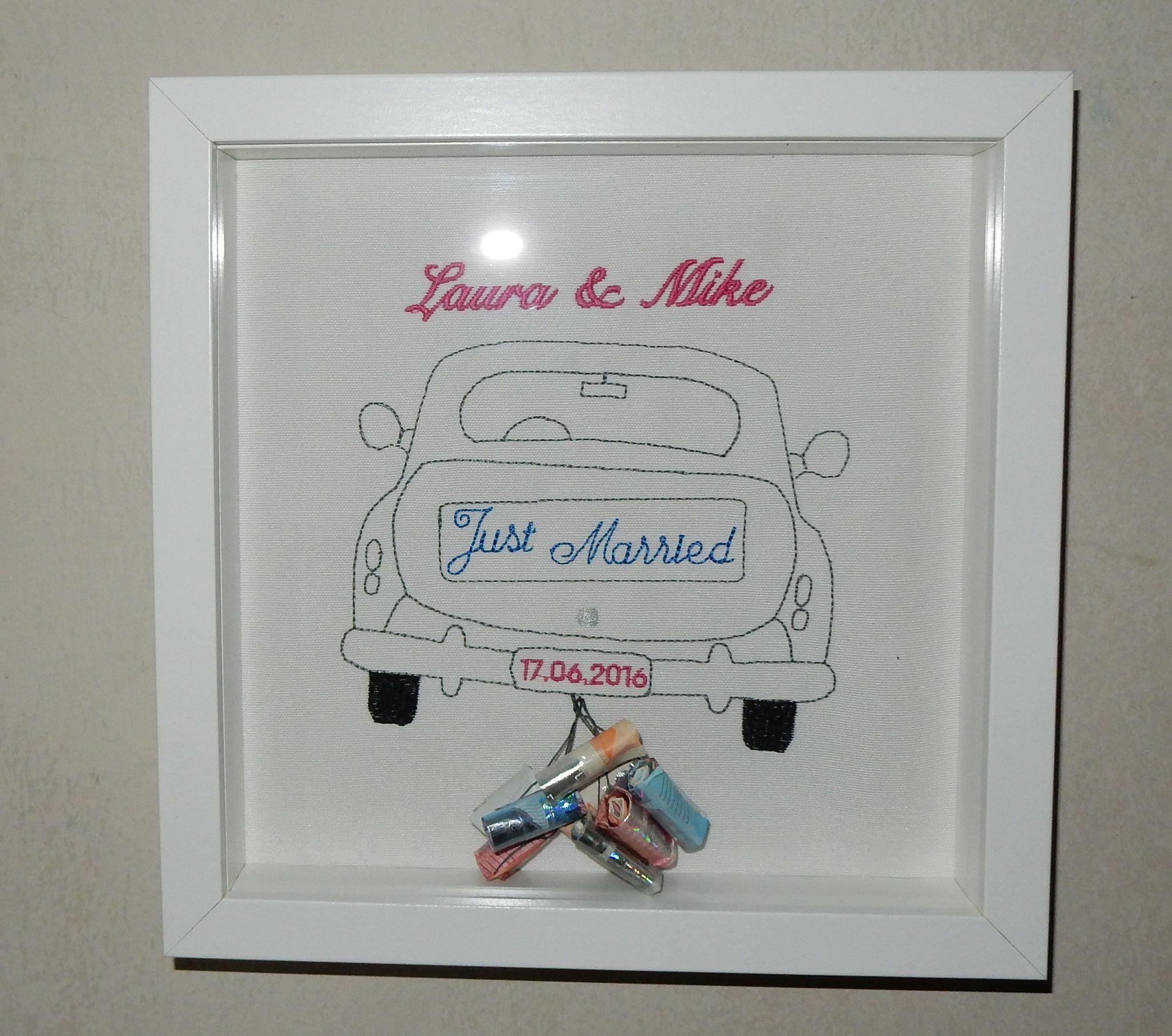 just married in blau wir schreiben nat rlich auch frisch verheiratet gesticktes. Black Bedroom Furniture Sets. Home Design Ideas