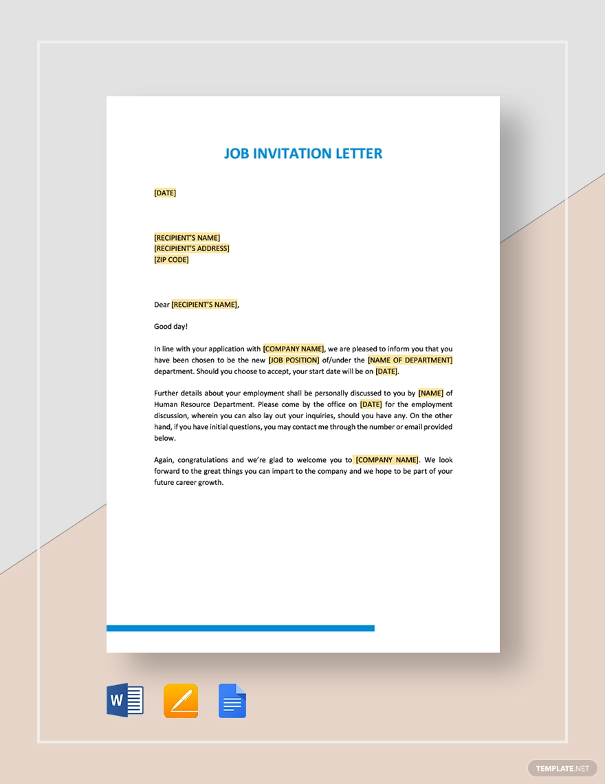 Job Invitation Letter Template Download 18 Hr Templates In Microsoft Word Apple Pages Google Docs Template Net
