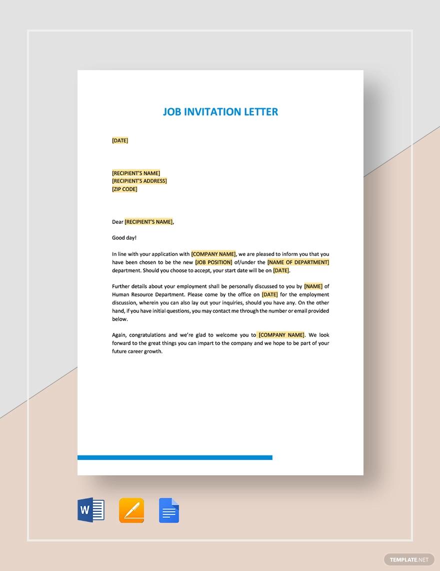 Job Invitation Letter Letter templates, Lettering, Templates
