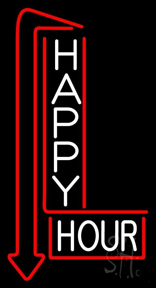 Happy Hour With Arrow Led Neon Sign Neon Signs Neon Wallpaper Neon Words