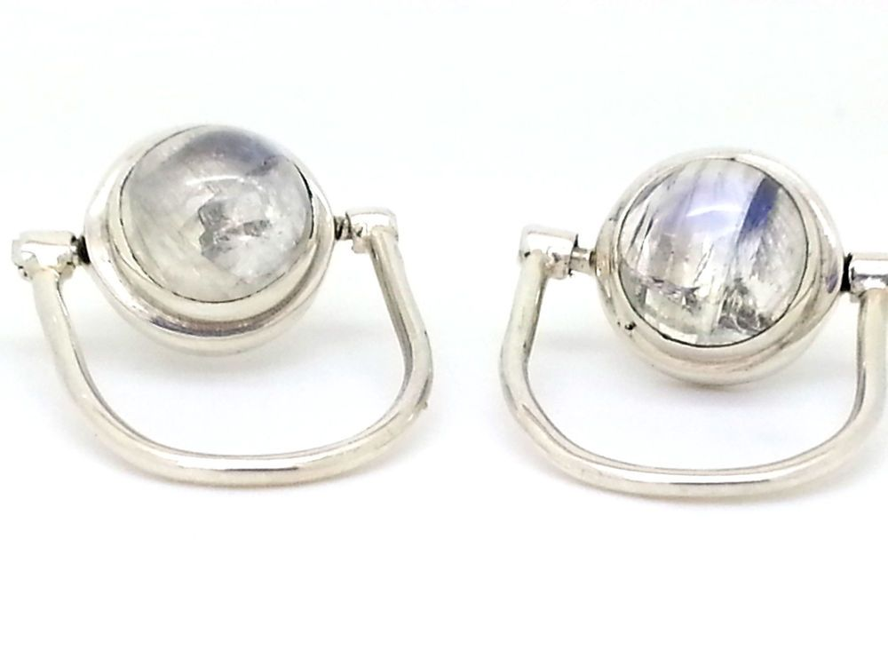 Unusual Moonstone 925 Sterling Silver Stud Earrings Gift Bag Incl Uk Er