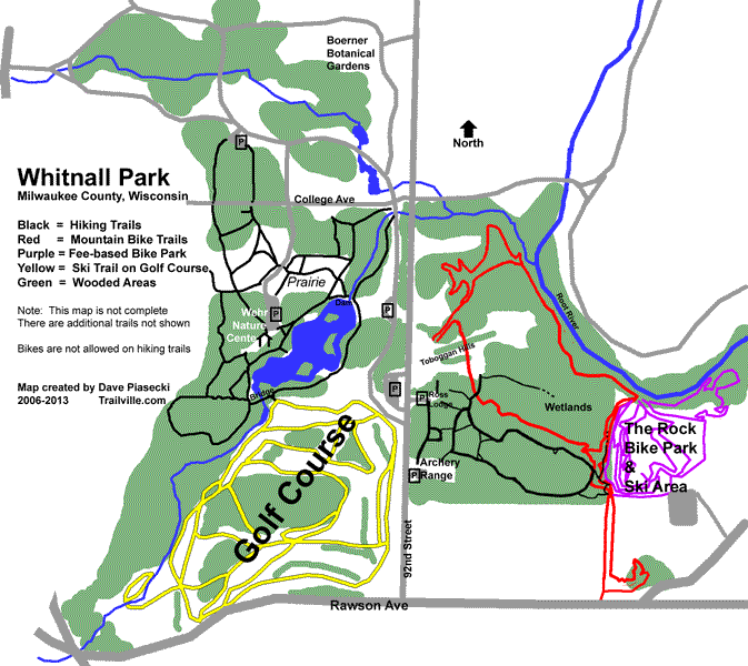 Map of Whitnall park in Milwaukee County Wisconsin need to