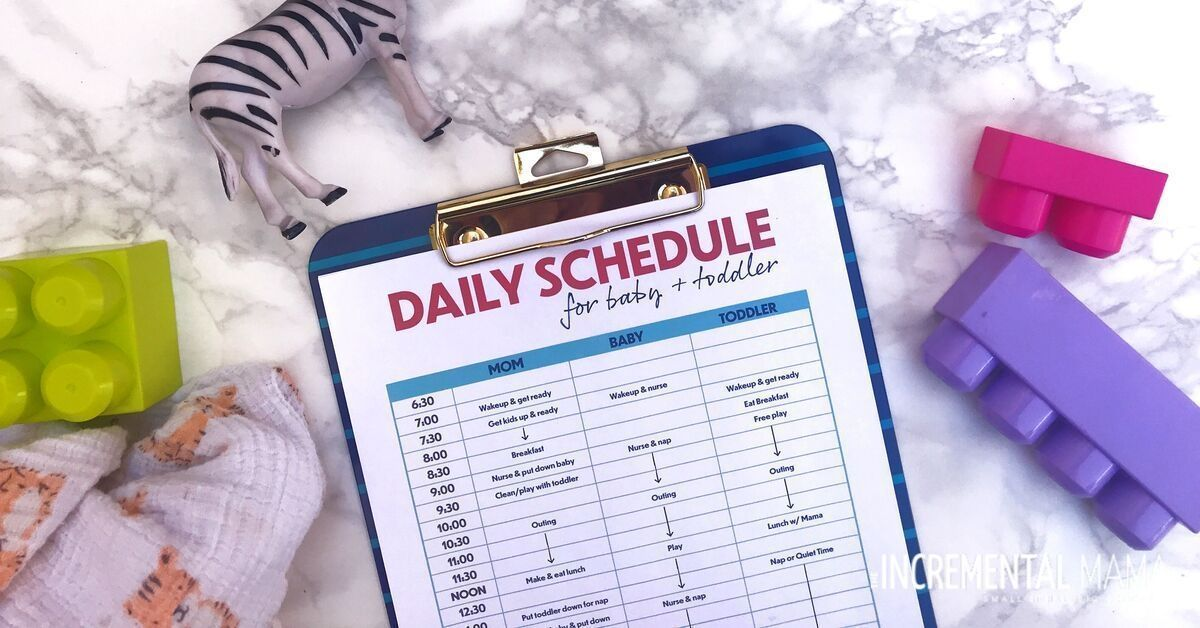Stay-at-Home Mom Schedule for a Toddler and Baby (Free Printable) #stayathome