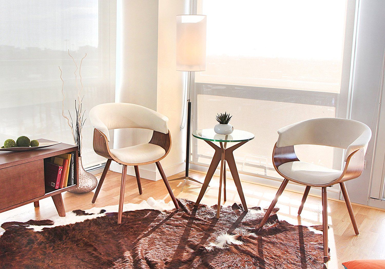 Lumisource Walnut Cream Vintage Mod Accent Chair Chr Jy Vmo Wl Chairs